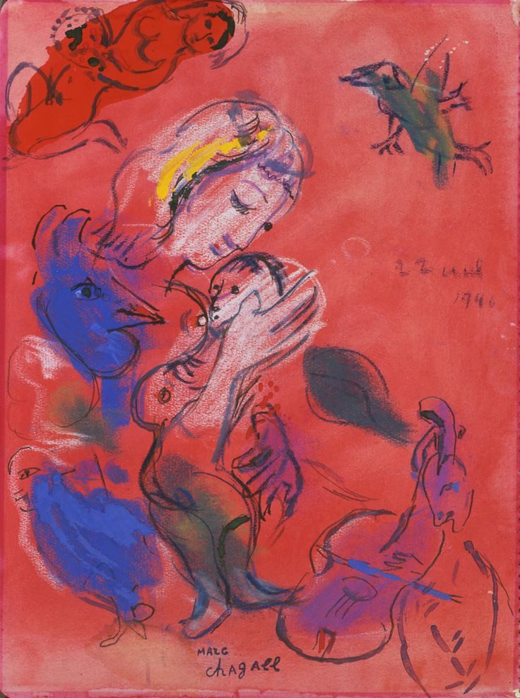 A tribute to all mothers through this 'Motherhood' by Marc Chagall, 1946.  Watercolor offered by Galerie Taménaga (Paris/Tokyo/Osaka) at BRAFA 2014.