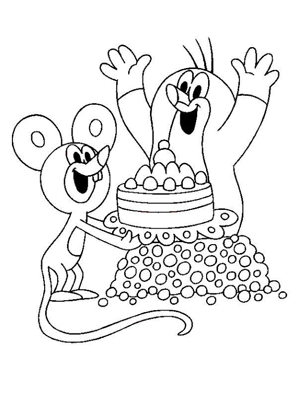 Omalovánky Krtek a myška k vytisknutí zdarma