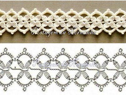 entredos: Charts, Lace Flowers, Stitches Patterns, Bracelets, Crochetedg, Crochet Stitches, Crochet Patterns, Crochet Edge, Crochetstitch