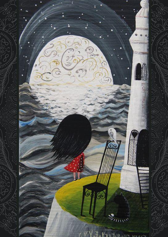 Купить Хранительница маяка. Авторская печать. - маяк, море, ночь, луна, кот, картина, сувенир