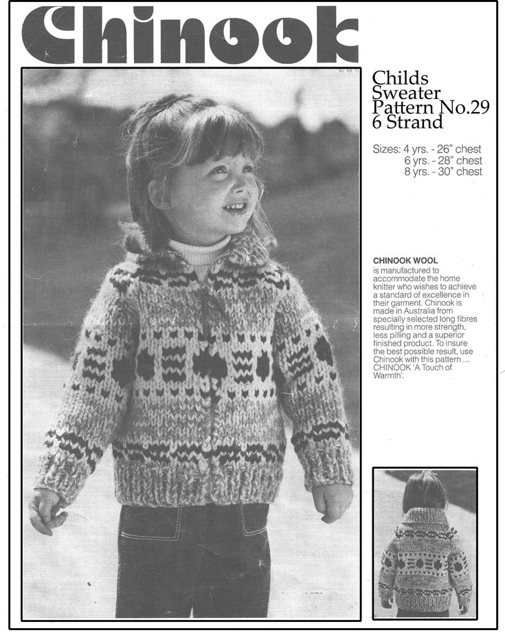 Chinook 29, childrens sweater, pattern no. 29 for childs sizes 4 to 8 years old , which is 26 to 30 inch chest.