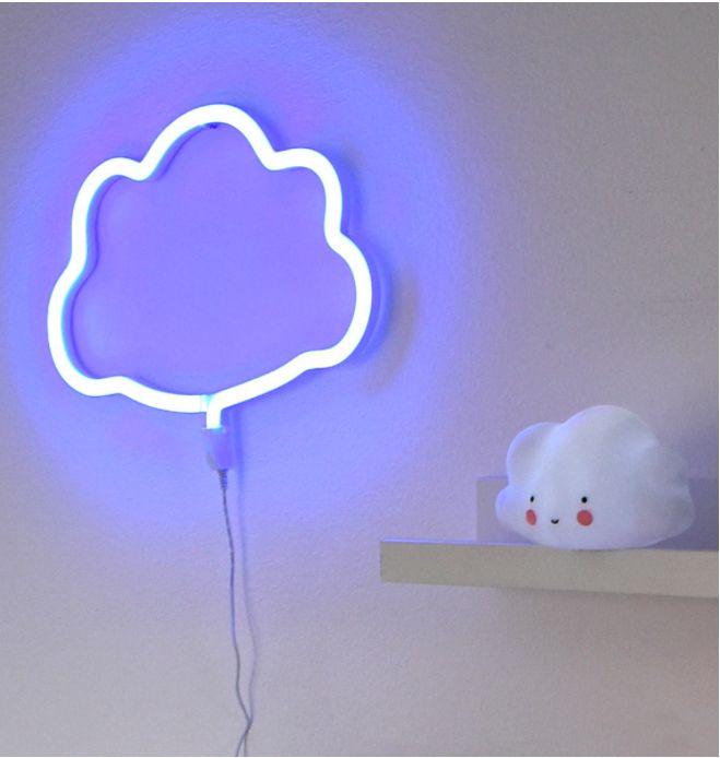 LED-lampa Neonstil, Blått moln - Familyroom.se