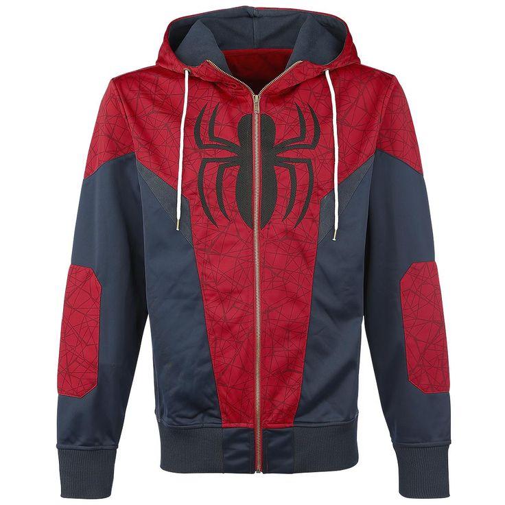 Spider-Man - Logo  - vest met capuchon, zonder zakken - met logo van Spider-Man op de voorkant - met elastische zomen - capuchon met trekkoord - met onderdelen van rekbare netstof aan de zijkanten