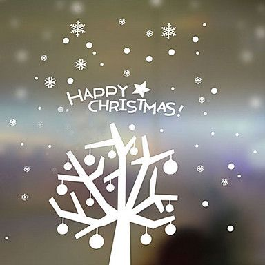 kerst decoratie muurstickers vakantie ornamenten kerst bomen in de sneeuw – EUR € 32.99