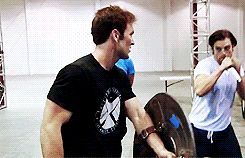 gif Chris and Sebastian. Okay, i didn't realize this before, but Chris has a SHIELD t-shirt on!// I am so mesmerized by this gif