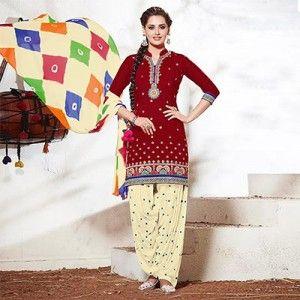 Red - Cream Printed Patiala Suit