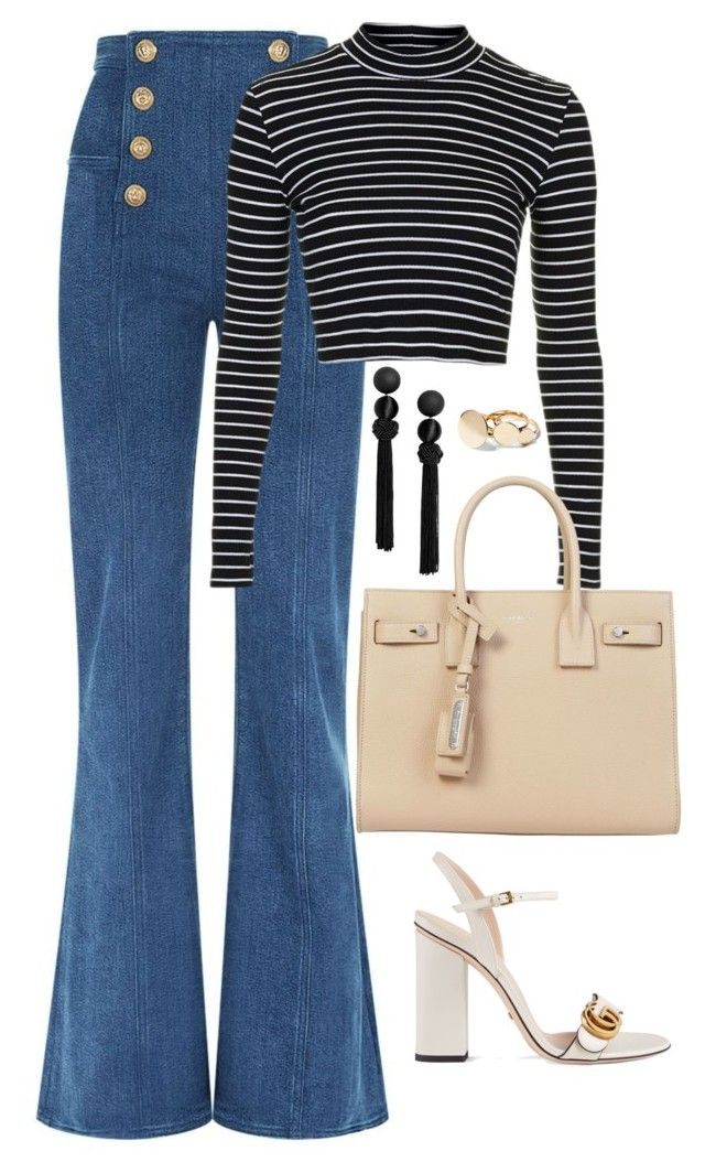 """""""Untitled #4713"""" by magsmccray on Polyvore featuring Balmain, Topshop, Yves Saint Laurent and Gucci"""