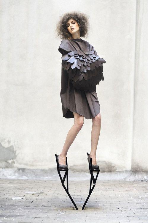 "I'm like a bird.... Fashion meets art - sculptural, conceptual fashion design, Nimurad ""Elemental"""