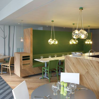 simple restaurant interior design really love the clean crisp lines and the green. Black Bedroom Furniture Sets. Home Design Ideas
