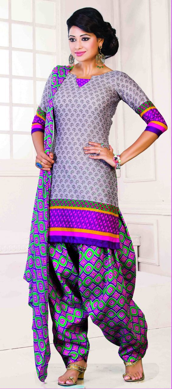Riti Riwaz Gray Printed Patiyala Dress