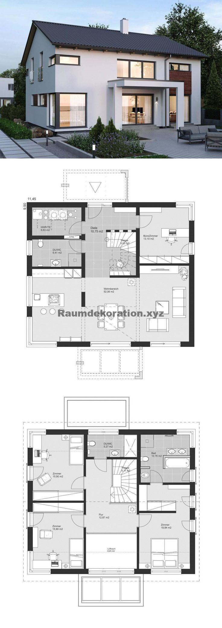 Architektur Ideen – Modernes Einfamilienhaus mit Satteldach Architektur & Galerie – Eigenheim bauen Ideen Grundriss ELK Haus 189 von ELK Fertighaus – HausbauDirekt.de