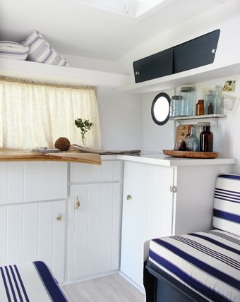 "Love how clean and crisp this renovation caravan is ""Frankie"" after"