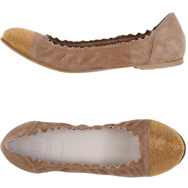 Brunello Cucinelli Ballet Flats ($553) ❤ liked on Polyvore featuring shoes, flats, beige, beige ballet flats, leather shoes, ballerina flat shoes, ballet flat shoes and round toe ballet flats
