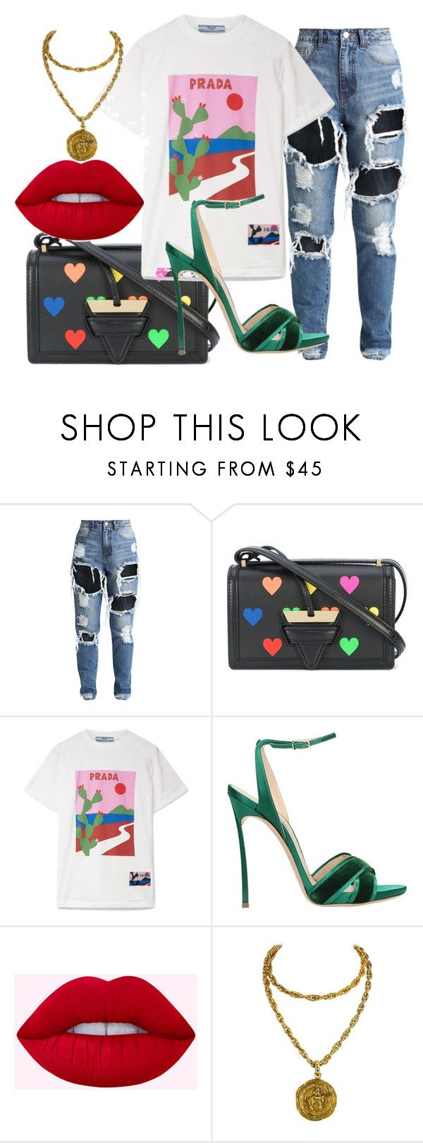 """""""VIEWER DISCRETION ADVISED"""" by julianduka ❤ liked on Polyvore featuring Loewe, Prada, Casadei and Chanel"""