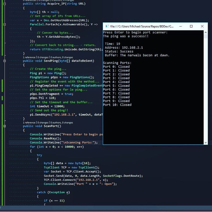 Beginners pen testing kit in csharp! Port scanner and address pinger. #pentesting #gobuildsomething #dev #develop #developers #developing ##code #coding #csharp #c #java #microsoft #apple #html #css #programming #programmer #programs #software #hardware #tech #technology #codeup #live #life #learn #linux #love by software_daily