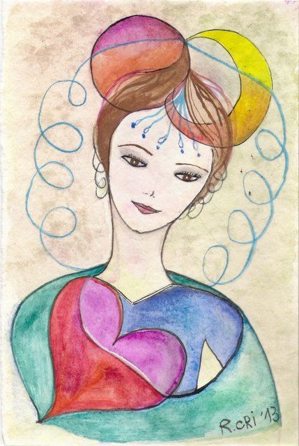 My creative woman  Original watercolor 23 x 155 cm by viadeitigli, €15.00