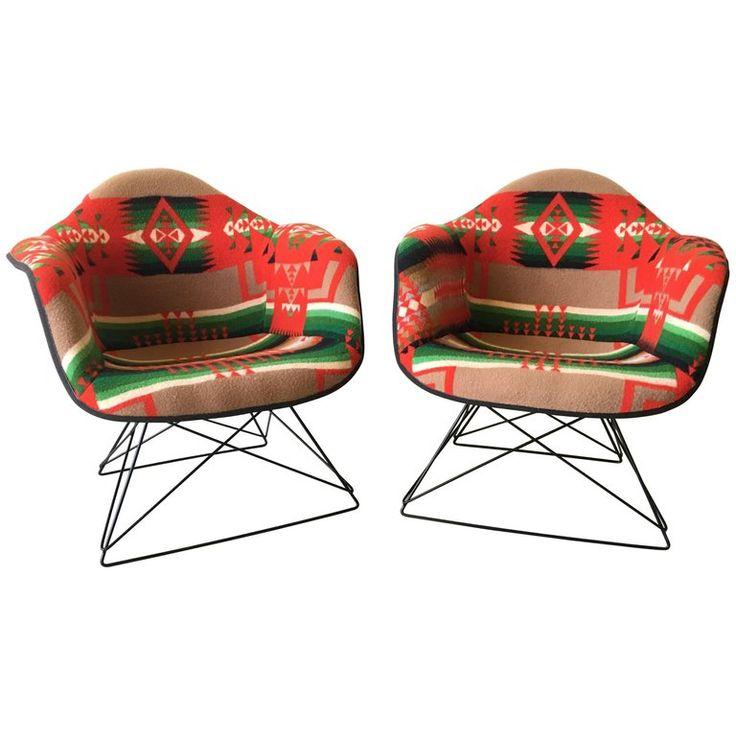 Vintage Eames Pendleton Wool Blanket Low Lounge Chairs | 1stdibs.com