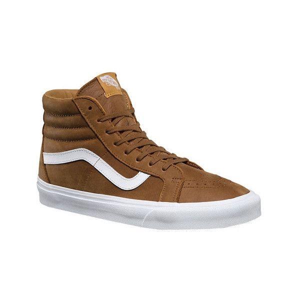 Vans Premium Leather SK8-Hi Reissue High Top ($75) ❤ liked on Polyvore featuring shoes, sneakers, casual footwear, casual shoes, white lace up sneakers, high-top sneakers, white high top sneakers, white hi top sneakers and white high tops
