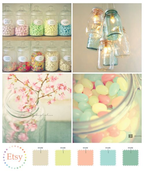 The tinted jar chandelier is a great concept if you have a hold of your color theme. I might try a gold and copper theme.