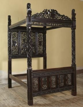 Paradise State Bed, made in 1495, is the last Tudor bed in existence, was made to mark Henry VII accession to the throne.  The bed is covered in detailed carvings demonstrating the power and wealth of the new king. The headboard depicts Adam and Eve in likeness of the King and Queen, surrounded by the fruits of paradise which symbolise fertility and the couple's hope for an heir.
