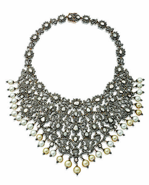 Victorian Collar necklace: diamond and South Sea pearls set in silver and gold