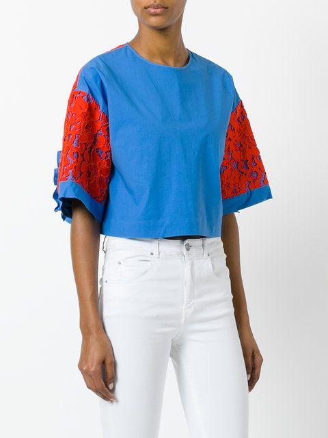 MSGM укороченная футболка с широкими рукавами