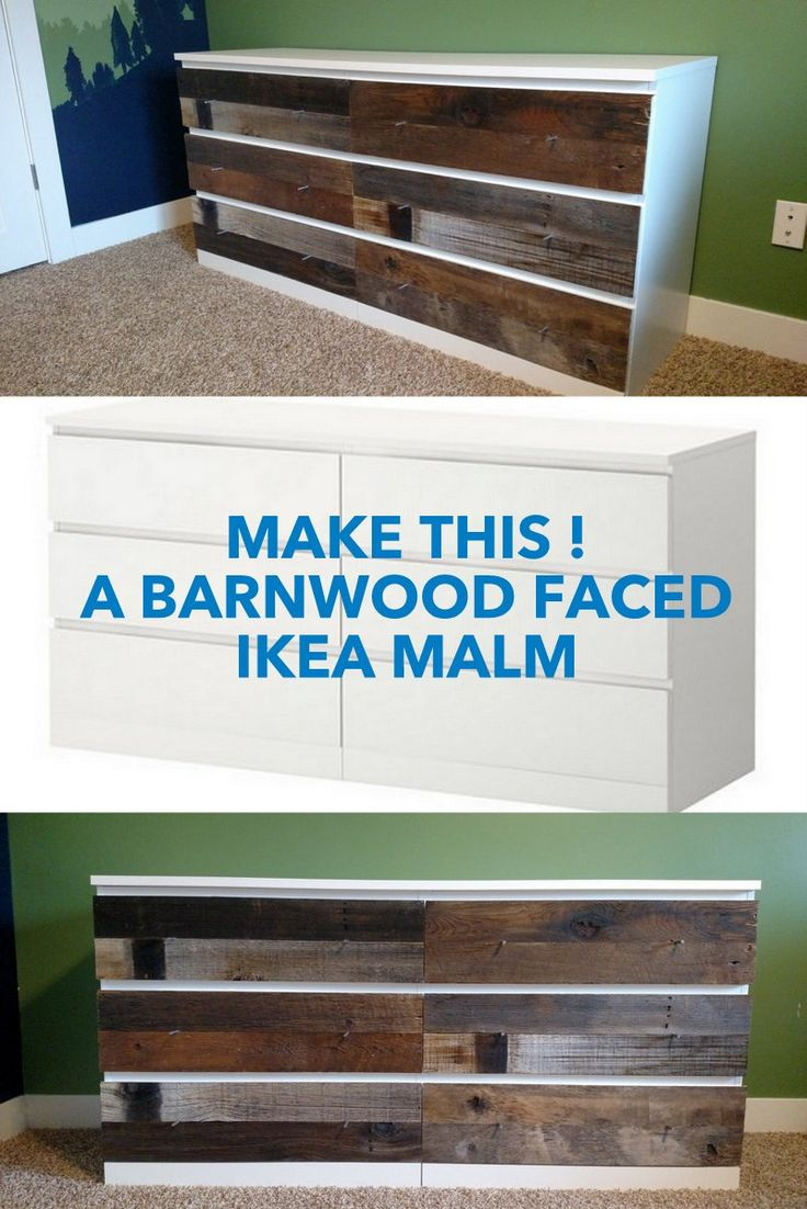 Love the Reclaimed Wood Dresser from West Elm? Here's how to hack one, for way way less. http://www.ikeahackers.net/2017/05/barnwood-faced-ikea-dresser-dream.html