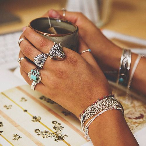boho jewelry - statement rings and sterling silver bracelets