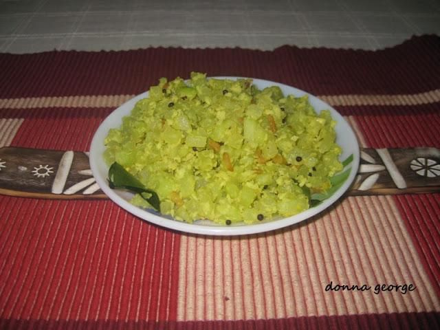 Popularly known as Pear Squash or Chow Chow in India, this veggie belongs to the gourd family Cucurbitaceae, along with melons, cucumbers and squash. This veggie is used in both raw and cooked forms. When cooked, pear squash is generally lightly cooked to retain the crisp flavour. Raw pear squash may be added to salads or salsas and is often marinated with lemon or lime juice In this recipe I have cooked the pear squash lightly and stir fried it with grated coconut and subtle aromatics…