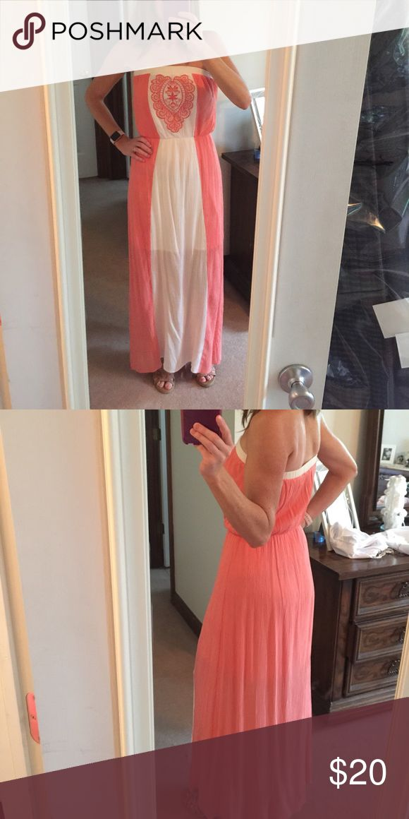 Maxi dress Beautiful two tone ivory/coral strapless maxi dress.  Size small.  Purchased from Pinkblush last summer.  Only wore once on date night 😉 Pinkblush Dresses Maxi