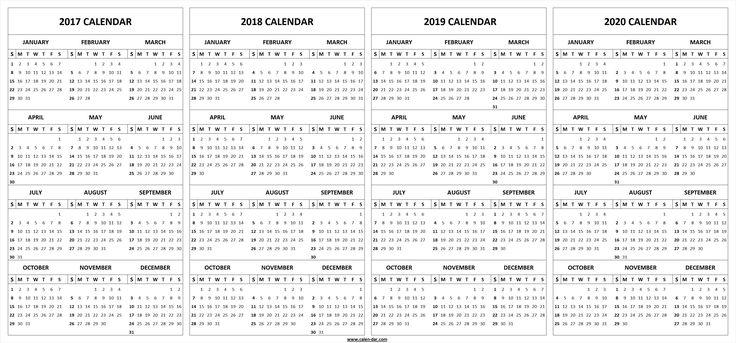 4 Four Year 2017 2018 2019 2020 Calendar Printable ...