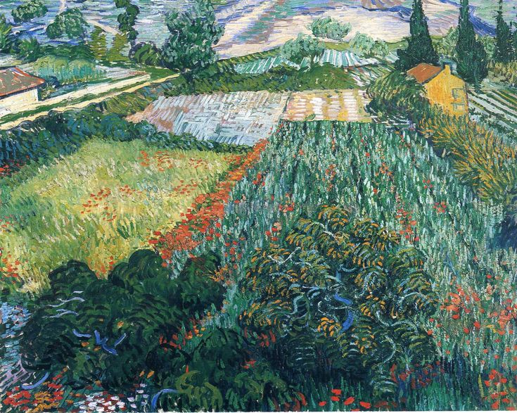 "Vincent van Gogh: ""Field with Poppies"", 1889. (Kunsthalle, Bremen, Germany.) http://www.kunsthalle-bremen.de/#&panel1-1"