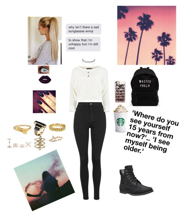 """""""Favorite state (USA): California"""" by laceshorts ❤ liked on Polyvore featuring Topshop, Cathy Waterman, House of Harlow 1960, ChloBo, Rebecca Taylor, New Look, Lime Crime, Timberland, Casetify and Charlotte Russe"""