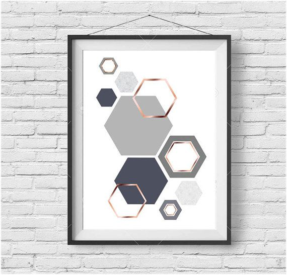 grey and rose gold print gray copper wall art by printavenue