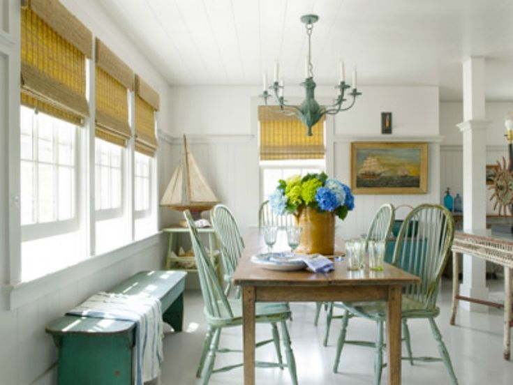 smooth sailing the owner of this historic nantucket cottage found her dining rooms farm table and reproduction windsor chairs at nantucket house antiques - Beach Kitchen Decorating Ideas