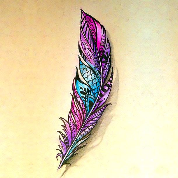 Great Colorful Feather Tattoo Design Tattoos Pinterest