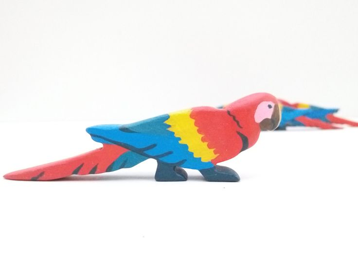 Wooden ara toy Wooden Bird toy Pretend play Bird toy figurine Learning toys for toddlers by WoodenCaterpillar on Etsy