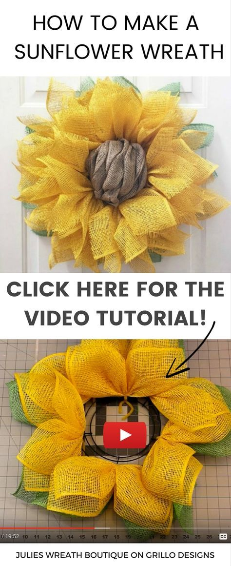 Learn how to make a sunflower wreath using poly burlap. Watch this in depth video tutorial on how to make a sunflower burlap wreath.