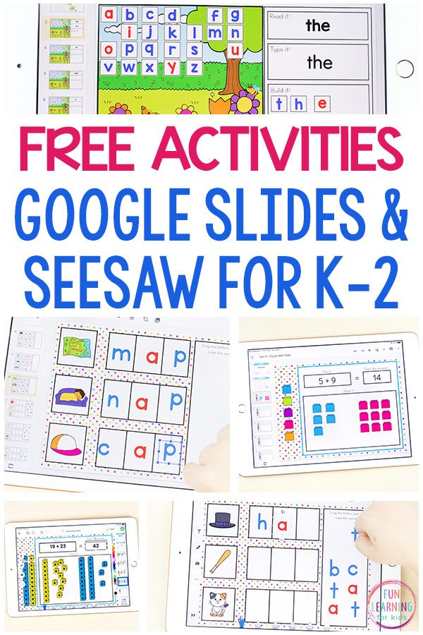 Free Google Slides and Seesaw Activities for K2 in 2020