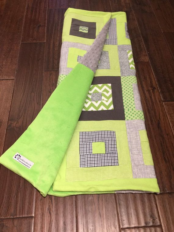Little Log Cabin Baby or Toddler Quilt  Lime by sosweetquilts