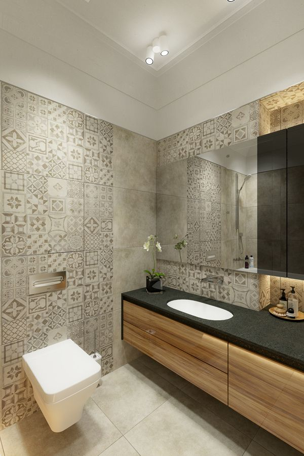 Modern bathroom with tiles in different patterns, floating toilet and vanity