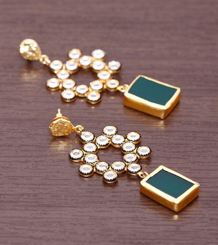 Green & Golden Stone Embellished Earrings=Indian Pearl $ 70