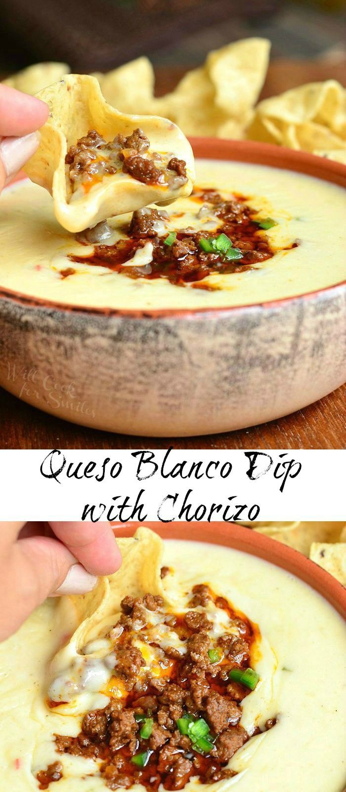 Queso Blanco Dip with Chorizo | from willcookforsmiles.com #cheese #appetizer #fingerfood