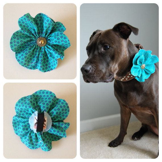 Flowery Fabric Flower Accessory for #Dog Collars via PitsnPosh @ Etsy