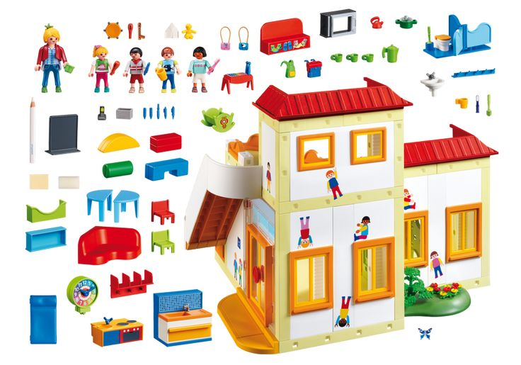 Fun times await at the Playmobil Sunshine Preschool! Bright and colorful rooms greet families as they enter through the front double doors. Kids will love playing house in the miniature children's kitchen or building impressive skyscrapers with all the different building blocks. Includes one adult figure, four child figures, backpacks, baby doll with cradle, pencils, pens, paintbrush, coffeepot, mugs, toothbrushes, chalkboard with special pen, two sinks, two toilets, telephone, and lots more