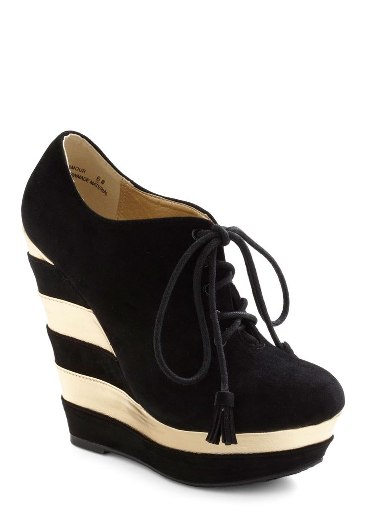 The Fame Game Wedge - Black, Gold, Stripes, Tassles, High, Wedge, Lace Up, Statement, Urban, Holiday Party, Platform $42.99