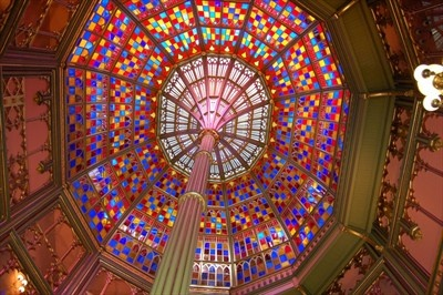 The stained glass dome of the Old State Capitol building in downtown Baton Rouge is very beautiful and a free museum to visit.