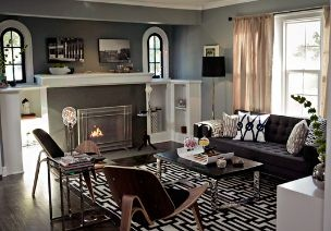 After a long deliberation, we've decided to paint the living room walls a slate/teal a la this Jeff Lewis remodel