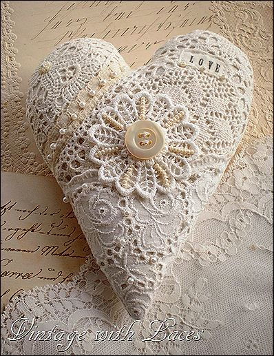 These hearts by vintagewithlaces are goreous! Doing a simplifed version with your children would be a great way to spend an afternoon. Especially with a child that likes to sew.