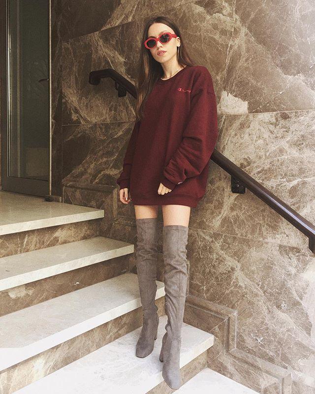 Duygu özaslan, champion oversize sweatshirt dress otk boots